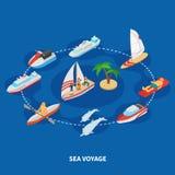 Isometric σύνθεση ταξιδιών θάλασσας Στοκ Φωτογραφίες