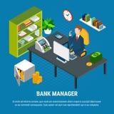Isometric σύνθεση τραπεζικών διευθυντών ελεύθερη απεικόνιση δικαιώματος