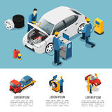Isometric σύνθεση υπηρεσιών αυτοκινήτων απεικόνιση αποθεμάτων