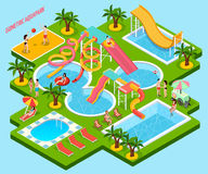Isometric σύνθεση Aquapark πάρκων νερού ελεύθερη απεικόνιση δικαιώματος