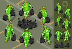 isometric σύνολο ατόμων απορριμάτ&omega ελεύθερη απεικόνιση δικαιώματος