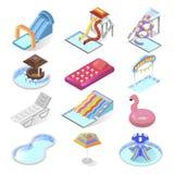 Isometric σύνολο εικονιδίων ψυχαγωγίας παιδιών πάρκων νερού ελεύθερη απεικόνιση δικαιώματος