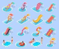 Isometric σύνολο εικονιδίων Aquapark πάρκων νερού ελεύθερη απεικόνιση δικαιώματος