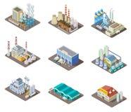 Isometric σύνολο εργοστασίων τρισδιάστατα βιομηχανικά κτήρια, εγκαταστάσεις παραγωγής ενέργειας και αποθήκη εμπορευμάτων Απομονωμ διανυσματική απεικόνιση