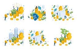 Isometric σύνολο οικονομικών εννοιών, επενδυτές διανυσματική απεικόνιση