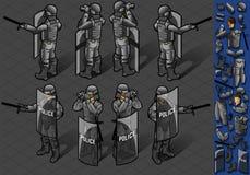 Isometric σύνολο στάσης οκτώ policemans ελεύθερη απεικόνιση δικαιώματος