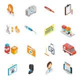 Isometric σύνολο εικονιδίων γιατρών Στοκ Φωτογραφίες