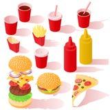 Isometric σύνολο εικονιδίων γρήγορου φαγητού Στοκ Εικόνες