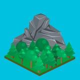 Isometric τοπίο βουνών Στοκ φωτογραφία με δικαίωμα ελεύθερης χρήσης