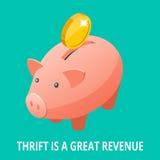 Isometric τράπεζα Piggy, χρυσή ράβδος, διαμάντι και εικονίδιο νομισμάτων Thrift είναι μια μεγάλη έννοια εισοδήματος ελεύθερη απεικόνιση δικαιώματος