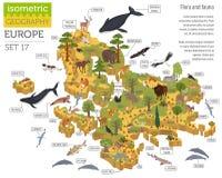 Isometric τρισδιάστατα ευρωπαϊκά στοιχεία κατασκευαστών χαρτών χλωρίδας και πανίδας ελεύθερη απεικόνιση δικαιώματος