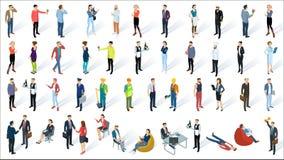 Isometric τρισδιάστατοι επίπεδοι διανυσματικοί άνθρωποι σχεδίου διανυσματική απεικόνιση