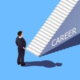 Isometric τρισδιάστατη έννοια σταδιοδρομίας Ο επιχειρηματίας πρόκειται να αναρριχηθεί στη σκάλα σταδιοδρομίας διανυσματική απεικόνιση
