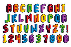 Isometric τρισδιάστατοι αλφάβητο και αριθμοί εικονοκυττάρου Στοκ Εικόνες