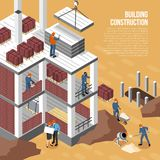 Isometric υπόβαθρο οικοδόμησης κτηρίου ελεύθερη απεικόνιση δικαιώματος