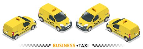 Isometric υψηλός - σύνολο εικονιδίων μεταφορών υπηρεσιών ποιοτικών πόλεων Ταξί αυτοκινήτων Small Van Car Στοκ φωτογραφία με δικαίωμα ελεύθερης χρήσης