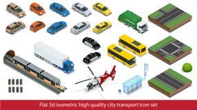 Isometric υψηλός - καθορισμένο υπόγειο τρένο εικονιδίων μεταφορών ποιοτικών πόλεων, αστυνομία, αυτοκίνητο φορτηγών ταξί μίνι, ελι Στοκ Εικόνες