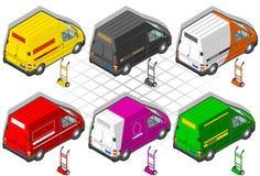 Isometric φορτηγό παράδοσης απεικόνιση αποθεμάτων