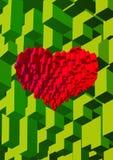 Isometric φραγμός κύβων στη μορφή καρδιών στο πράσινο BG Στοκ Φωτογραφία