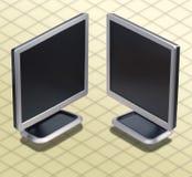 Isometric φωτογραφία - σύνολο δύο θέσης LCD mon Στοκ εικόνα με δικαίωμα ελεύθερης χρήσης