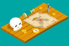 Isometric χάρτης παιχνιδιών RPG περιπέτειας θησαυρών πειρατών ελεύθερη απεικόνιση δικαιώματος