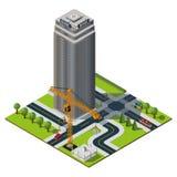 Isometric χάρτης πόλεων Κτήριο τράπεζας μέσα στο κέντρο της πόλης Στοκ Φωτογραφίες
