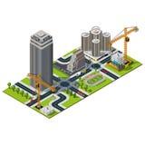 Isometric χάρτης πόλεων Οδός τράπεζας μέσα στο κέντρο της πόλης απεικόνιση αποθεμάτων