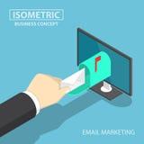 Isometric χέρι επιχειρηματιών που παίρνει την παράδοση ταχυδρομείου από το όργανο ελέγχου διανυσματική απεικόνιση