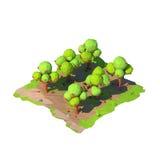 Isometric χαμηλός πολυ οπωρώνας μήλων, τρισδιάστατη απόδοση απεικόνιση αποθεμάτων