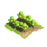 Isometric χαμηλός πολυ οπωρώνας μήλων, τρισδιάστατη απόδοση διανυσματική απεικόνιση