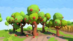 Isometric χαμηλός πολυ οπωρώνας μήλων, τρισδιάστατη απόδοση ελεύθερη απεικόνιση δικαιώματος