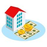 Isometric χρήματα και σπίτι Στοκ Εικόνες