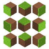 Isometric χλόη κινούμενων σχεδίων και κύβος τούβλου παιχνιδιών πετρών βράχου διανυσματική απεικόνιση