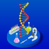 Isometric ψηφιακή δομή DNA στο μπλε υπόβαθρο Έννοια επιστήμης Ακολουθία DNA, διανυσματική απεικόνιση νανοτεχνολογίας απεικόνιση αποθεμάτων