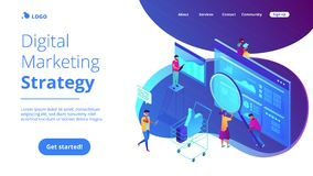 Isometric ψηφιακή προσγειωμένος σελίδα εμπορικής στρατηγικής Στοκ Φωτογραφία