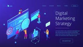 Isometric ψηφιακή προσγειωμένος σελίδα εμπορικής στρατηγικής Στοκ Εικόνα