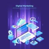Isometric ψηφιακό μάρκετινγκ απεικόνιση αποθεμάτων