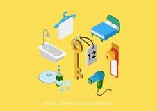 Επίπεδο τρισδιάστατο isometric διανυσματικό ξενοδοχείο Ιστού όλη η συμπεριλαμβάνουσα υπηρεσία δωματίων Στοκ Εικόνες