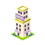 Διανυσματικό isometric εικονίδιο οικοδόμησης ξενοδοχείων Στοκ Εικόνες