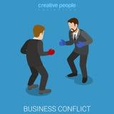 Επιχειρηματίες επιχειρησιακής σύγκρουσης που εγκιβωτίζουν επίπεδο isometric διανυσματικό τρισδιάστατο Στοκ Εικόνες