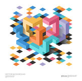Isometric abstract background with geometric figures. Vector design layout for business presentations, web and app Stock Images