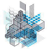 Isometric abstract background with lines and other different ele Royalty Free Stock Photo