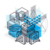 Isometric abstract background with lines and other different ele Stock Image
