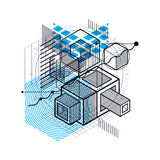 Isometric abstract background with lines and other different ele Royalty Free Stock Photos