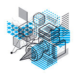Isometric abstract background with lines and other different ele Royalty Free Stock Image