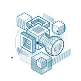 Isometric abstract background with lines and other different ele Stock Images