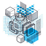 Isometric abstract background with lines and other different ele Stock Photo