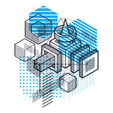 Isometric abstract background with lines and other different ele Stock Photography