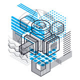 Isometric abstract background with lines and other different ele Royalty Free Stock Photography
