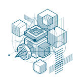 Isometric abstract background with lines and other different ele Royalty Free Stock Images